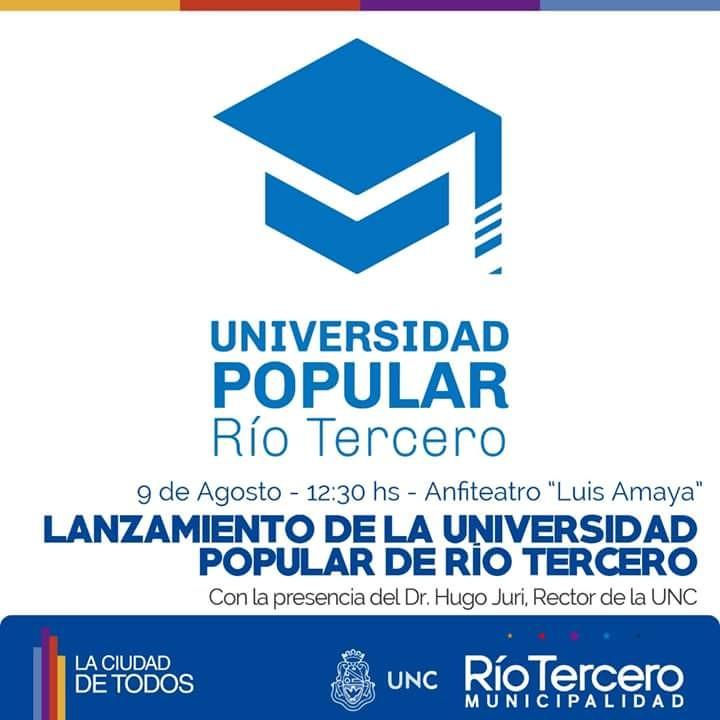 Se va a realizar el Lanzamiento de la universidad Popular de Río Tercero