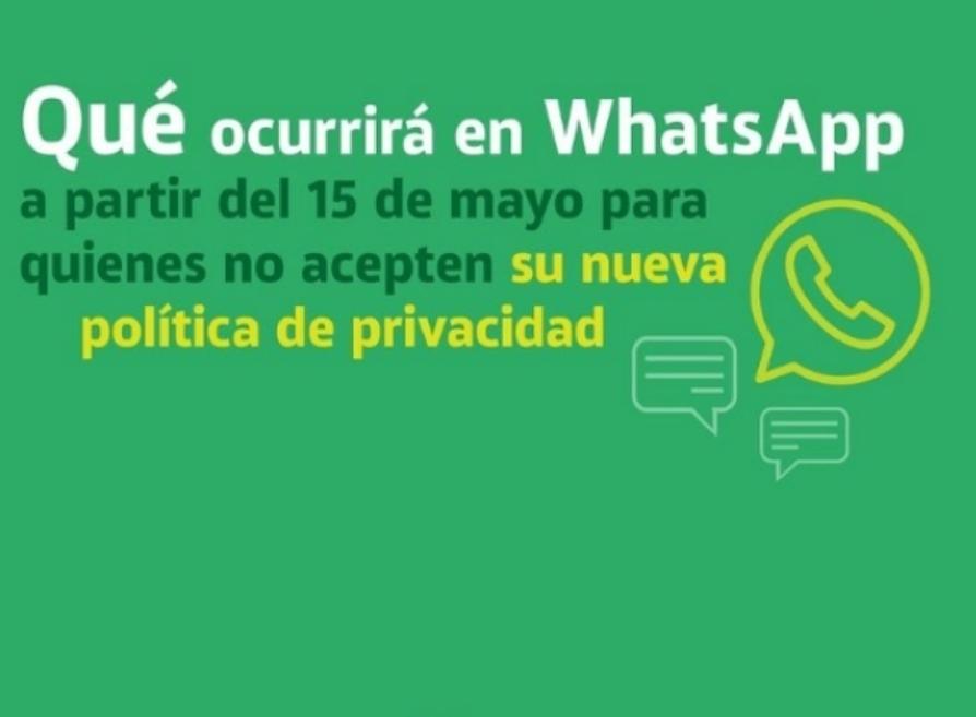 WhatsApp: qué pasará desde este sábado con los que no acepten su nueva política de privacidad.