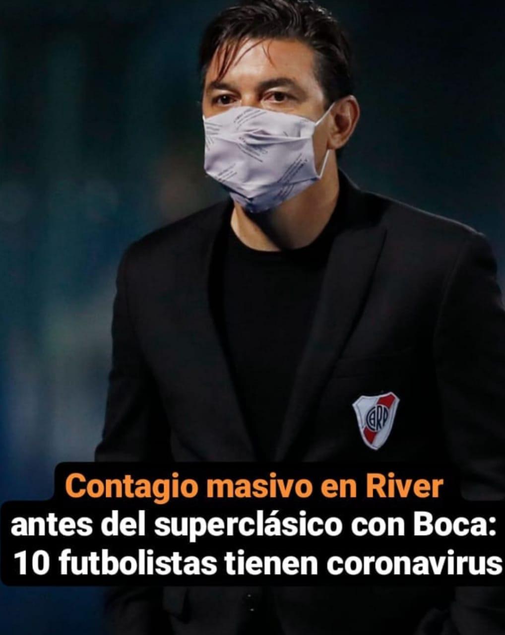 Diez jugadores de River dieron positivo de Covid a un día del superclásico
