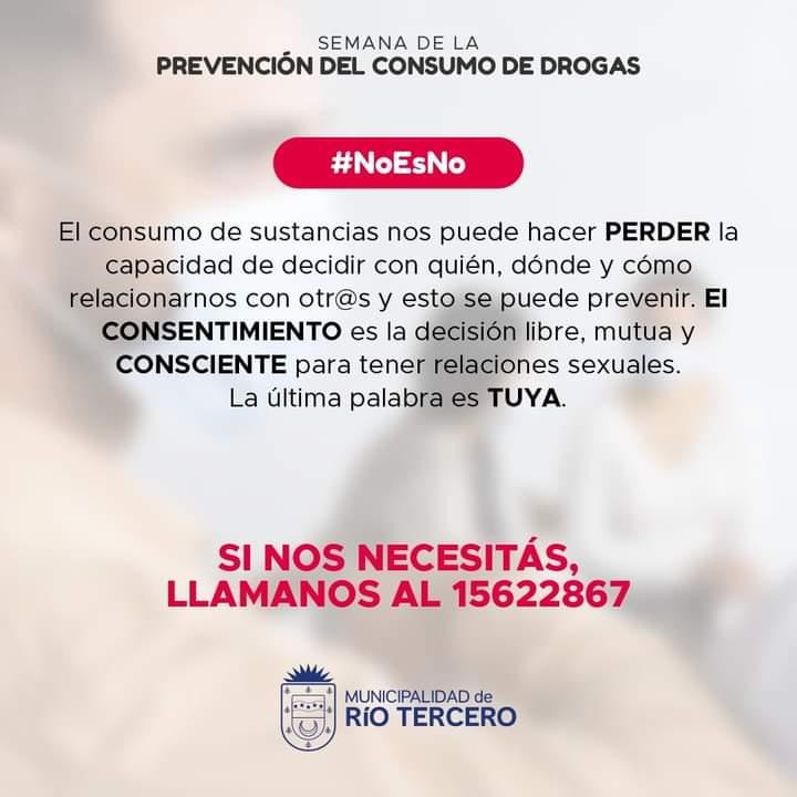 RÍO TERCERO SE SUMA A LA SEMANA PROVINCIAL DE PREVENCIÓN DE ADICCIONES