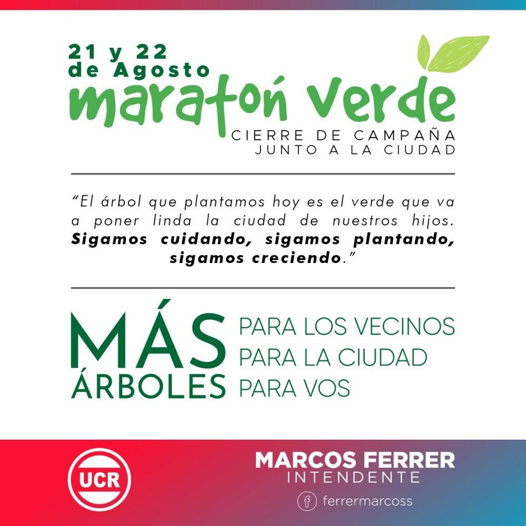 Marcos Ferrer realiza el Cierre de Campaña con una Maratón Verde