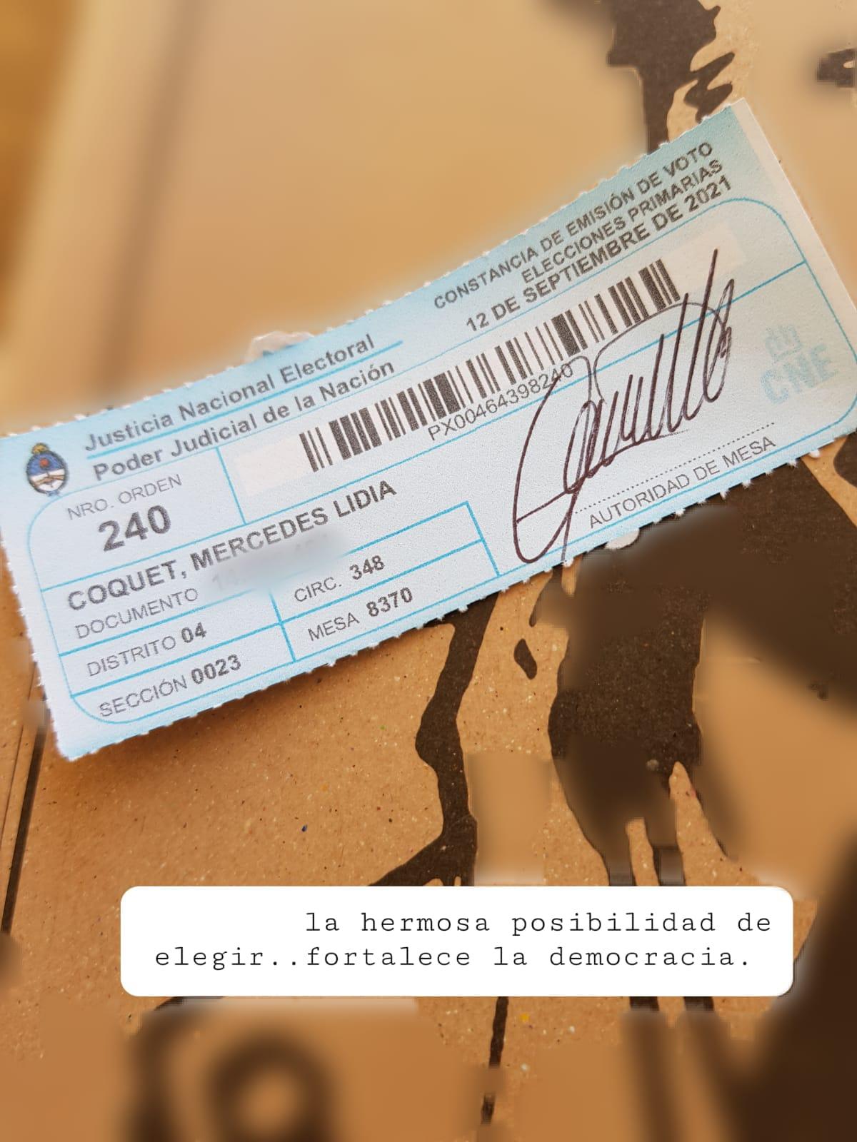 Coquet: *celebrando una nueva oportunidad del pueblo argentino de concurrir a las urnas*